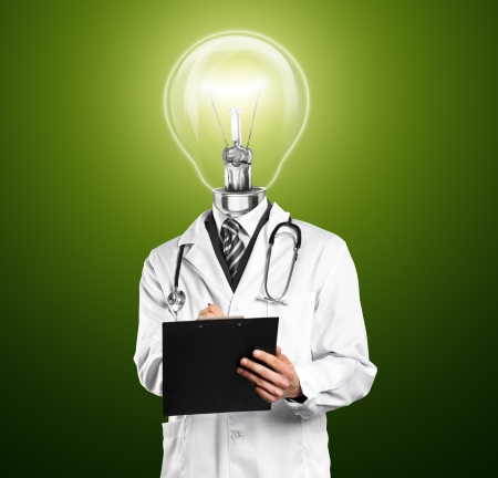 Lamp Head Doctor man with stethoscope against different backgrounds Stock Photo - 14847300