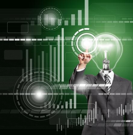 ランプ ヘッド ビジネス男仮想タッチパッド ボタンを押します