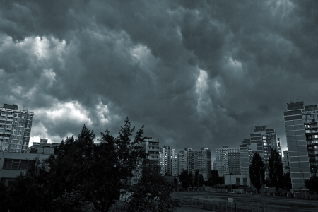 utopia: Beautiful storm sky with clouds, apocalypse like Stock Photo