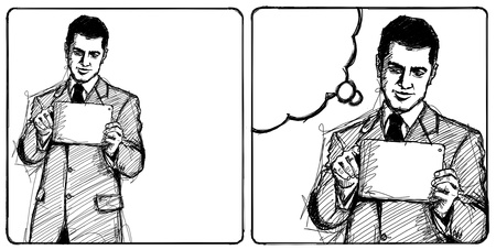 i pad: Sketch, comics style man businessman in suit with i pad in his hands