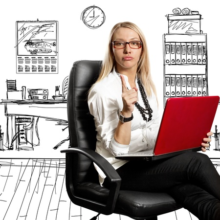 psychologist: Business woman in leather chair, looking on camera