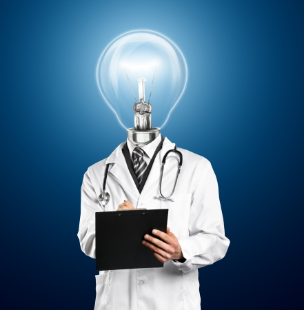 Lamp Head Doctor man with stethoscope against different backgrounds photo