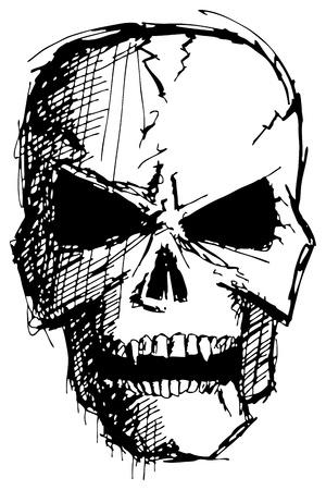 ハロウィーンのための邪悪なモンスターの頭蓋骨をスケッチします。