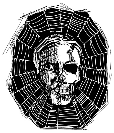 sketch evil monster skull for Halloween Vector