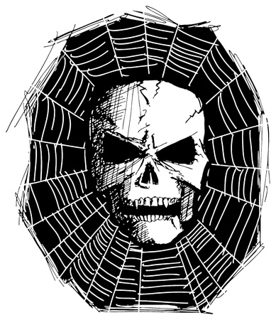 sketch evil monster skull for Halloween Vector
