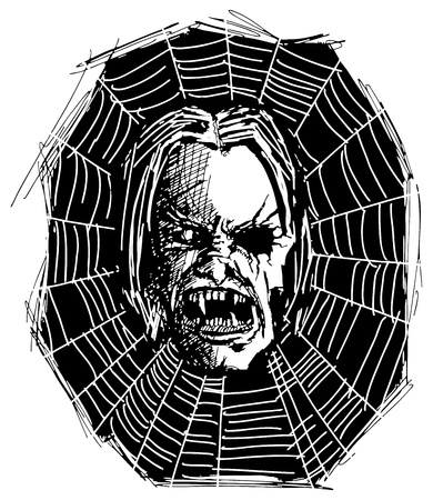 sketch evil monster skull for Halloween