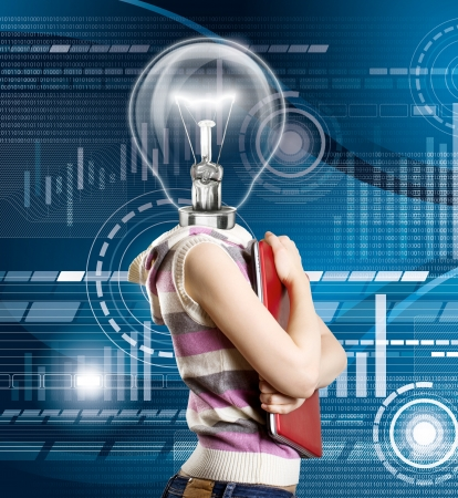 Idea concept, woman lamp head businesswoman with laptop in his hands Stock Photo - 15426320