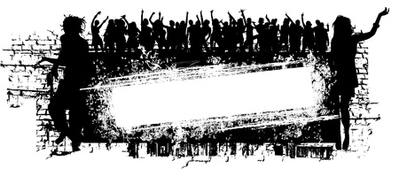 subculture: grunge music background with people silhouette