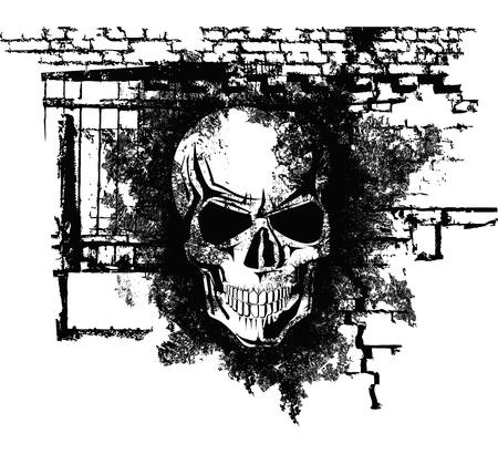 evil skull: scary Halloween grunge skull with bricks  Illustration