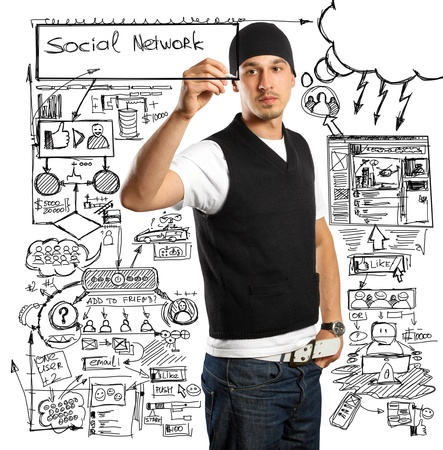 Idea social network concept, business man writing something on glass board with marker photo