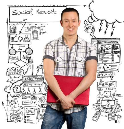 Social network idea concept, man with laptop in his hands, looking on camera photo