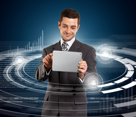 Social media concept, man businessman in suit with touch pad in his hands Stock Photo