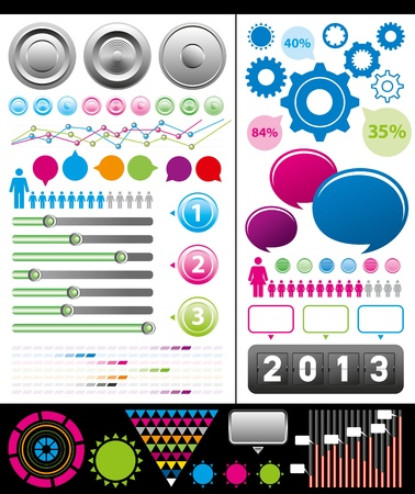 Vector big set of infographic elements usefull for any visualisations Stock Vector - 16592114