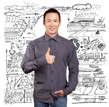 Ecology concept, asian business man shows well done Stock Photo - 16718581