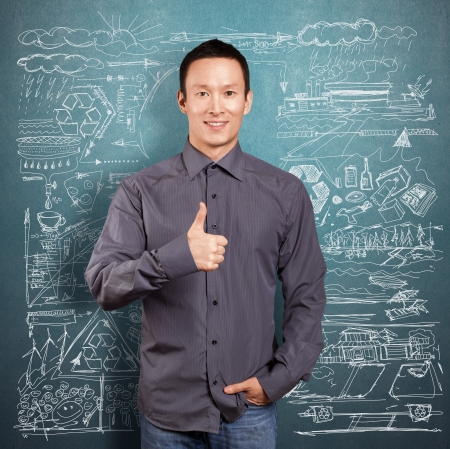 Ecology concept, asian business man shows well done Stock Photo - 16718998