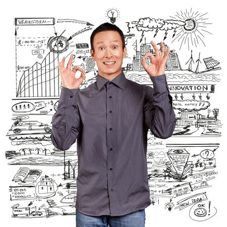 Business idea concept, Asian man shows OK with both hands Stock Photo - 16718568