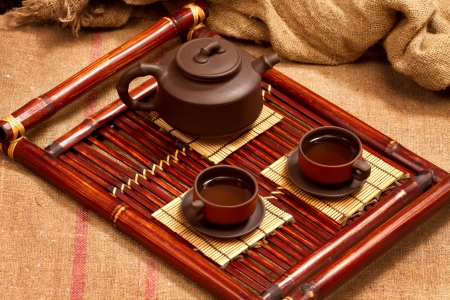 still life with two chinese teacups and teapot Stock Photo - 17346807