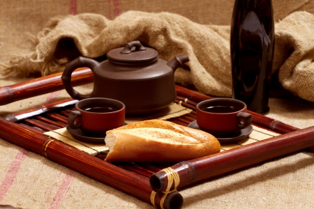 still life with two chinese teacups and teapot Stock Photo - 17346804
