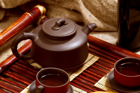 still life with two chinese teacups and teapot Stock Photo - 17346802