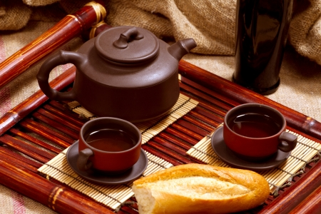 still life with two chinese teacups and teapot Stock Photo - 17346803
