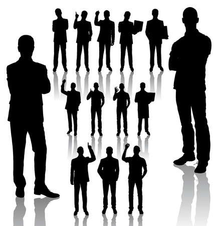 man: handmades silhouettes of business people in different poses Illustration