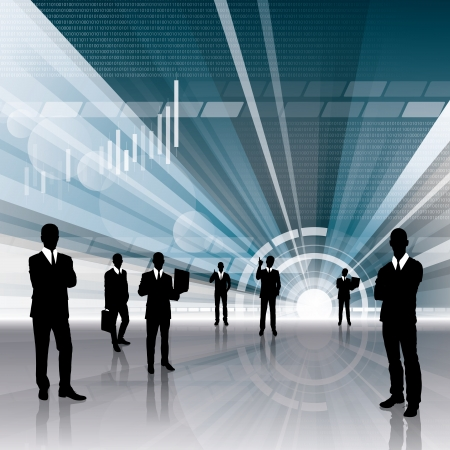 conceptual business virtual background with business people Stock Vector - 17593621