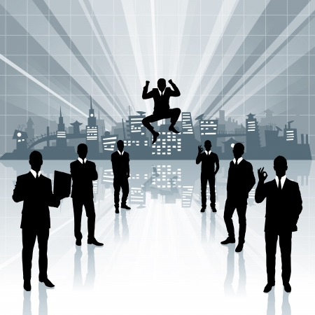 conceptual business virtual background with business people Stock Vector - 17644413