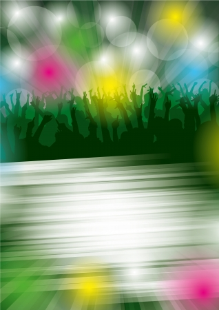 clubber:  background with dancing people. All elements are on separated layers. Illustration