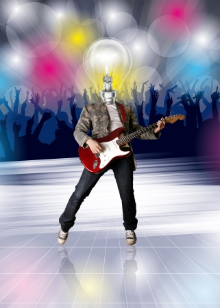 Disco concept. Lamp head guitarist and dance party flayer Stock Photo - 17797889