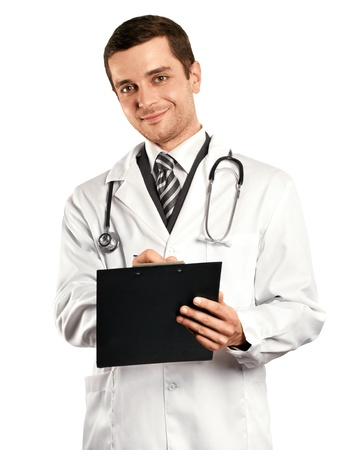 Doctor man writing something with marker on glass Stock Photo - 17893427