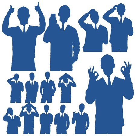 done: Vector handmade silhouettes of business people in different poses