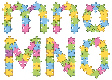 Puzzle jigsaw letters Vector