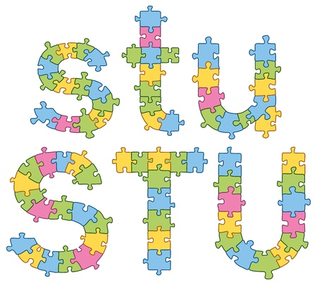 letter blocks: Puzzle jigsaw letters