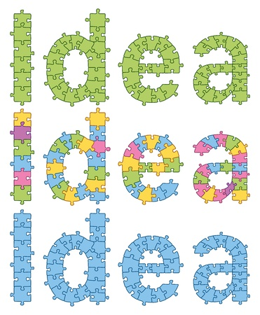Puzzle Word Idea. All puzzle jigsaw has editable contour, so you can easily change the size of it Vector