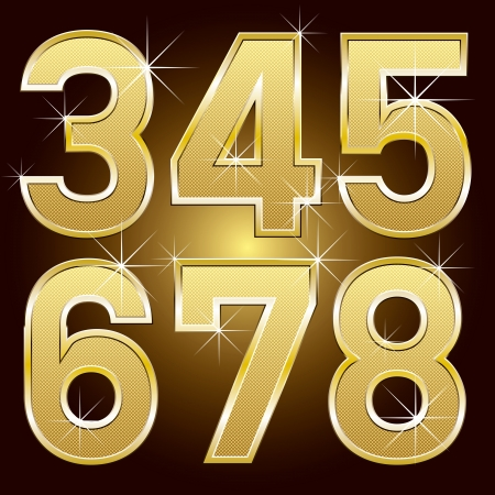 rnb: Golden letters and numbers big and small Illustration