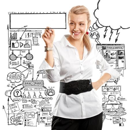 アイデアのコンセプトは、マーカーとガラス基板上に何かを書くビジネス女性