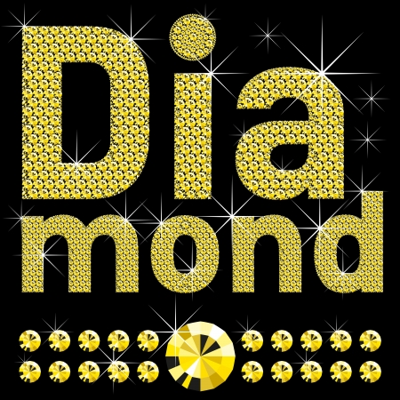 word diamond, of diamond letters big and small Vector
