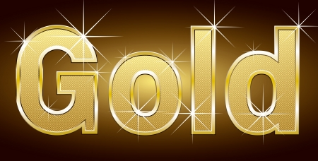 rnb: Golden word gold with golden letters and lights