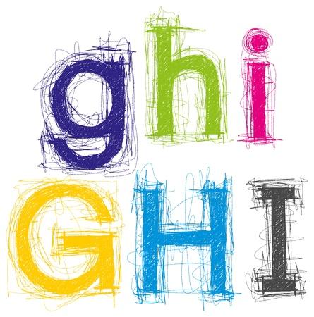 letter alphabet pictures: sketch letters pencil style