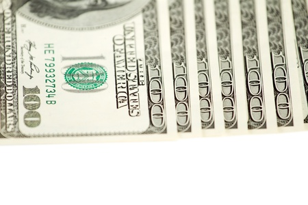 one hundred dollars: Dollar abstract background against white, with one hundred dollars