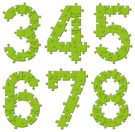 Vector set of puzzle jigsaw letters, big and small Vector