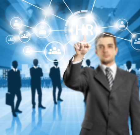 HR 概念ビジネス男仮想タッチパッド ボタンを押します