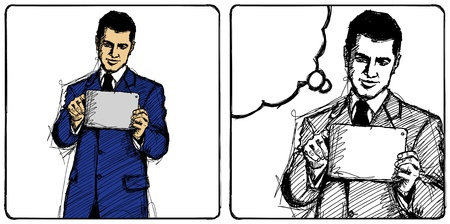 i pad: Vector Sketch, comics style man businessman in suit with i pad in his hands