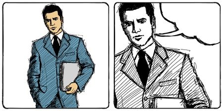 Vector Sketch, comics style man businessman in suit with laptop in his hands, looking on camera Stock Vector - 19226602