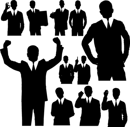 black tie: Vector silhouettes of business people in different poses