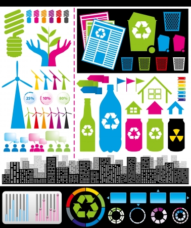 recycling bottles: Rerecycling consept. Vector big set of infogrsphics elements usefull for any visualisations Illustration