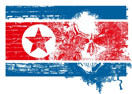 Nuclear danger concept. North Korea flag with scull Stock Vector - 19375926