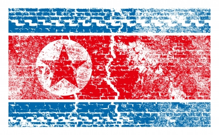 Nuclear danger concept. North Korea flag with wall bricks Stock Vector - 19376068