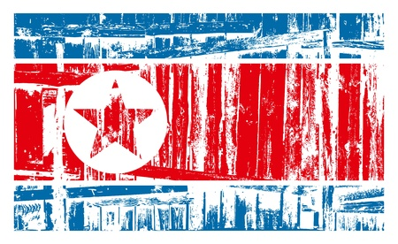 Nuclear danger concept. North Korea flag with wall bricks Stock Vector - 19375907