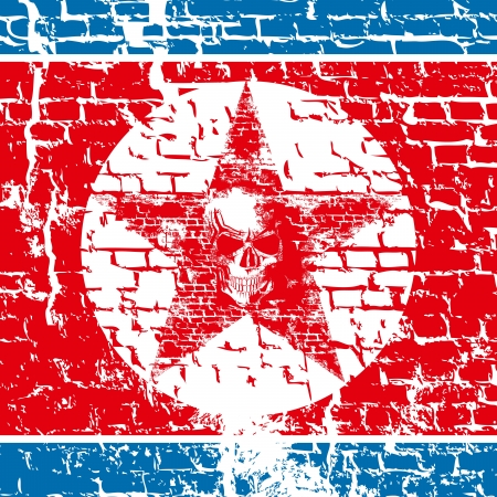 Nuclear danger concept. North Korea flag with scull Stock Vector - 19375919
